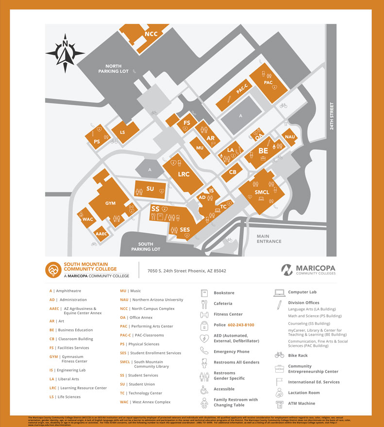 South Mountain Community College Campus Map.College Center Maps Smcc